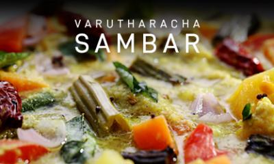 Varutharachya Sambar with Steamed Rice in Microwave